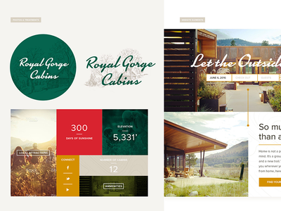 Royal Gorge Cabins typography illustration airstream 70s 60s retro end high luxury glamping camping