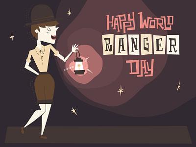 Happy World Ranger Day! typography outdoors park retro character midcentury illustration design holiday ranger