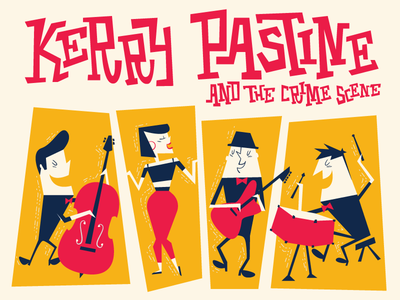 Kerry Pastine and the Crime Scene instruments character music band illustration midcentury retro
