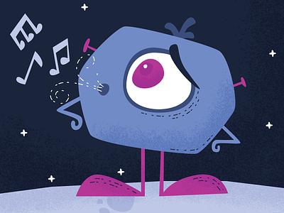 Whistle music sing character space illustration monster alien whistle