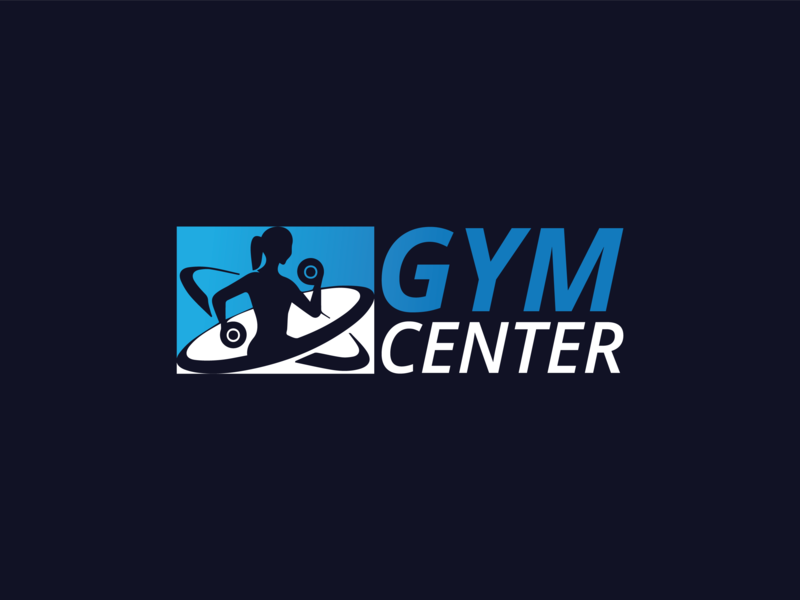 Gym Center Logo Design centered faysal7a illustration icon gym graphic fitness fit exercise equipment emblem design center body building body black barbell badge athletic athlete
