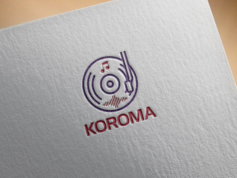 Koroma Dj Logo Design koroma faysal7a template record purple psd logo psd orange nerd music producer music logo identity headphones green glasses dj deer deejay corporate