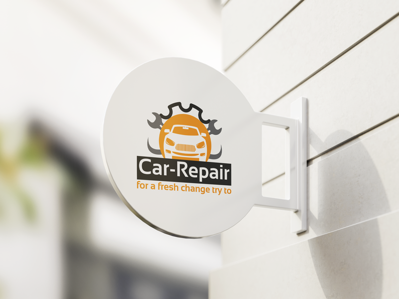 Car Repair Logo Design service faysal7a repair psd print ready print place orange online logo locator identity icon grey garage fix corporate check car broken