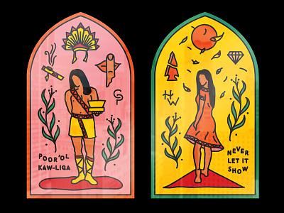 poor ol kaw-liga preacher church stained glass design branding custom typography lettering illustration