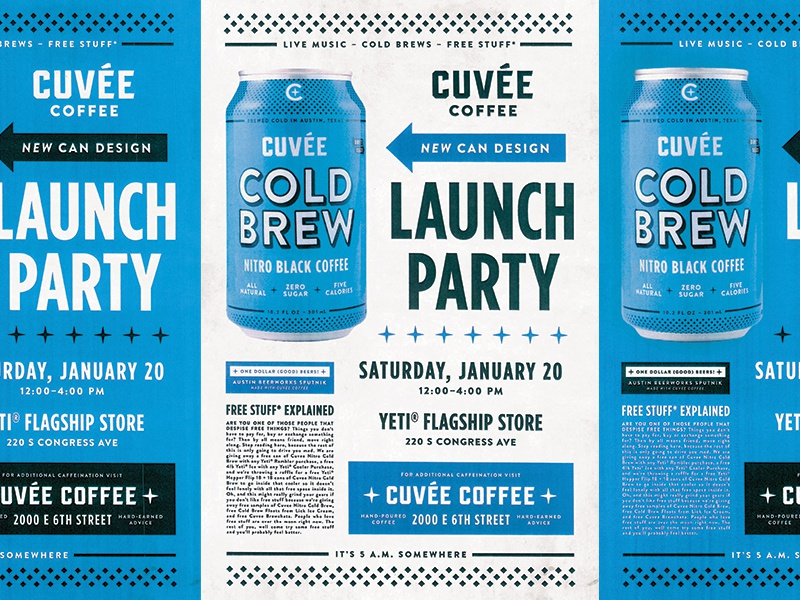 got a new can --- throw a party coffee texas austin design layout texture poster