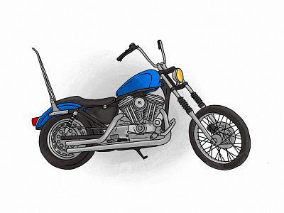 Blue - 96' Harley Sportster procreate chopper blue 96 sportster harley davidson harley