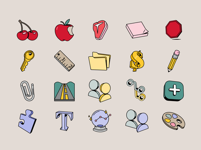 Spot Illustrations typography analytics palette branches avatars road clippy applepencil money folders measure key stop post it steak apple cherry spot illustration spot