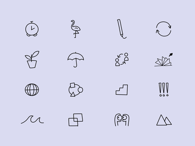 Sketch Style Iconography pages grow team review pencil flamingo umbrella logo plant inclusion clock eyes mountains iconography graphic icons