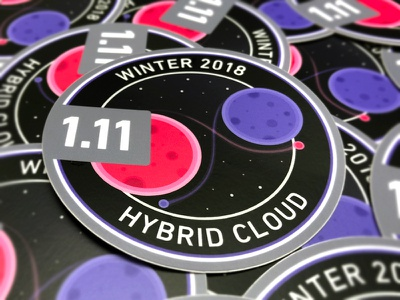 1.11 Release Stickers kubernetes containers hybrid cloud sticker stars space rings planet mesosphere