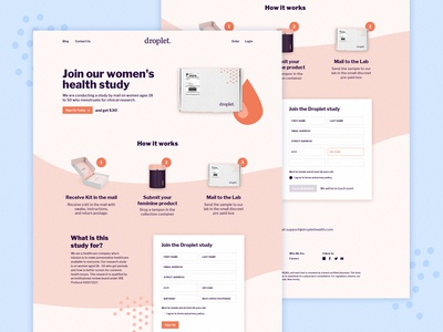 Droplet Product Page form web website page landing page. marketing ui ux minimal product