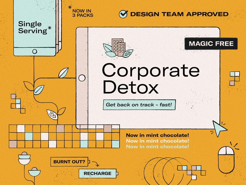 Concept for a Corporate Detox piece click recharge burnt out keyboard mouse plants abstract leaf chocolate mint iphone ipad