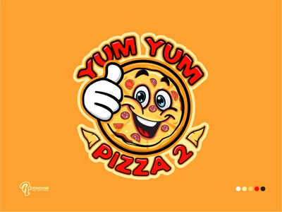 YUM YUM PIZZA 2 Mascot Logo cartoon design branding cartoon art cartoon illustration cartoon character cartoon logo mascot logo vector logo