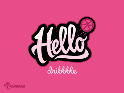 Hello Drible lettering icon logo type design vector typography illustration hello dribbble