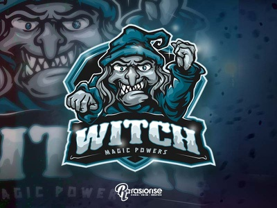 Witch Magic Power Mascot witch hat witch witcher cartoon character esports gaming logo cartoon logo branding design vector logo esports logo illustration