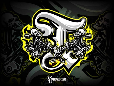 T Inital For Tattoo vector