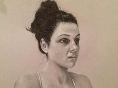 Meg portrait drawing graphite midtone