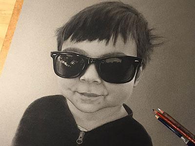 Ged III charcoal portrait