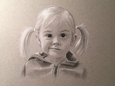 Mia drawing portrait charcoal