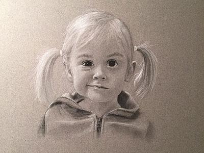 Mia drawing portrait charcoal