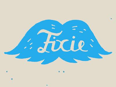 Fixie Moustache hand lettering illustration drawing moustache fixie bicycle logo