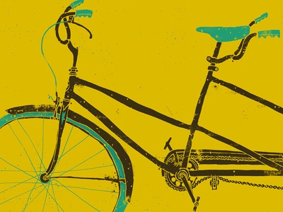 Tandem illustration drawing grunge texture bicycle tandem