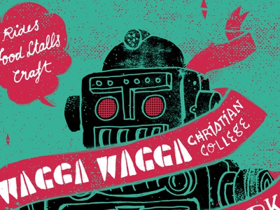 Wagga Wagga Fete Postcard illustration hand lettering typography black robot vintage grunge