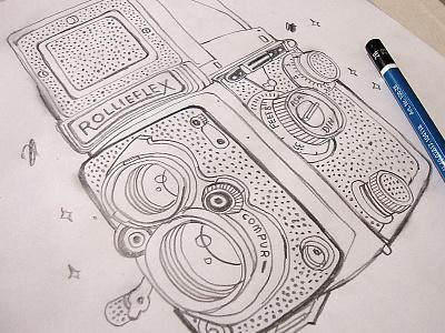Rollieflex sketch drawing illustration pencil rollieflex camera vintage