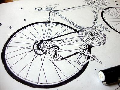 Cafe Thomaselli Sketch drawing bicycle sketch bike vintage illustration café thomaselli