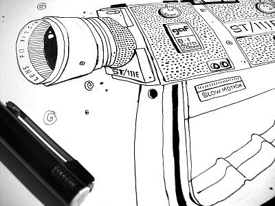 gaf Super8 sketch camera gaf super8 drawing illustration vintage