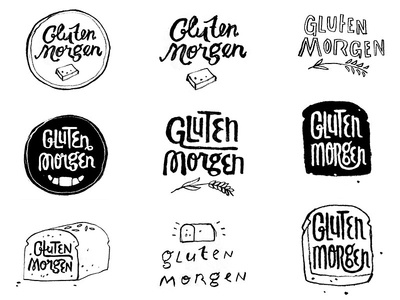Gluten Morgen logo roughs