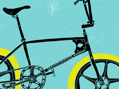 Diamondback bicycle illustration grunge bmx vintage drawing diamondback