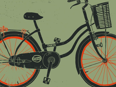 Vietnam Townie bicycle illustration grunge texture drawing