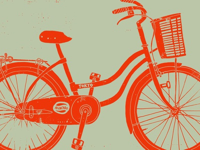 Vietnam Townie v2 bicycle illustration grunge texture drawing