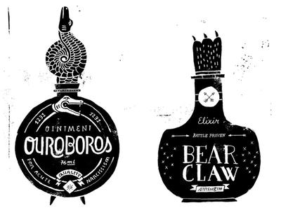 Vintage bottles illustration grunge drawing ouroboros bear claw