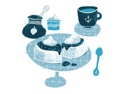 Scones drawing jam coffee scones texture grunge illustration