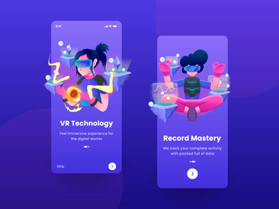 VR Mobile Apps - Onboarding Animation purple after effect virtual reality ar vr ui onboarding illustration ui design design ui design mobile ui mobile app animation