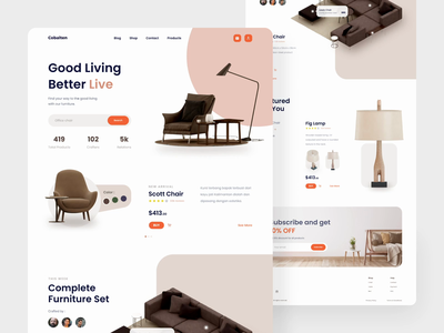 Cobalten - Furniture Landing Page Animation minimalism minimalist clean web design after effect ecommerce interior brown furniture website landingpage landing animation