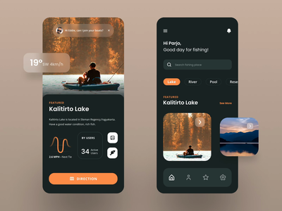 Fishing Explore Apps - Mobile Apps ui animation motion animation nature mobile app apps travel cleandesign clean brown fishing green ux uiux ui mobile design mobile ui mobile