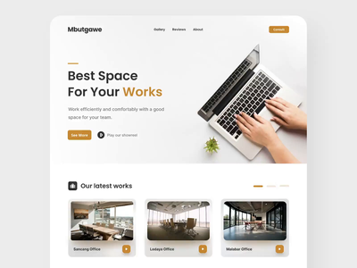 Mbutgawe - Working Space Agency Landing Page website minimalist minimal clean modern venue agency brown office work landing page landingpage landing webdesign web uiux ux ui