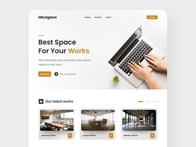 Mbutgawe - Working Space Agency Landing Page website minimalist minimal clean modern venue agency brown office work landing page landingpage landing webdesign web uiux ux ui