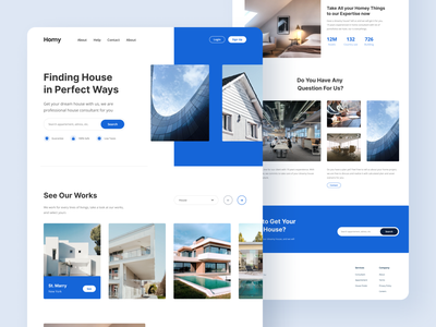 Homy - Home Agency Landing Page landingpage white blue house agency home minimalism modern ux uiuxdesign uiux ui web design webdesign web landing page landing