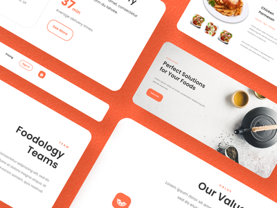 (Freebies) Foodology - Landing Page UI Kit Component website design webdesign website landingpage shop order booking clean cart orange food freebies free landing uiux ui kit component