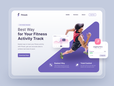 Fitness Tracking Activity Website Landing Page webdesign purple minimalist white dashboard tracker clean ux uiux ui landing page website design landing design website landing