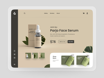 Jamin Ayu - Cosmetic Shop Landing Page web design uiux ux ui ecommerce shop cosmetic brown product minimalist clean header landingpage landing