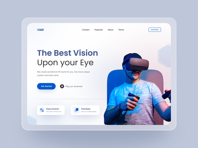 VR Landing Page Header Exploration image vr minimalistic simple ui design landing design landingpage landing uidesign clean minimalist website design website ux uiux ui