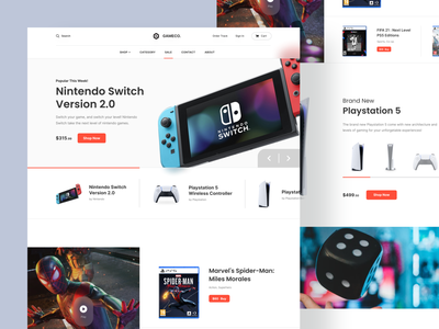 Gameco - Game Shop Landing Page ecommerce clean webdesign ui design landingpage shop landing website game games uiux ux ui