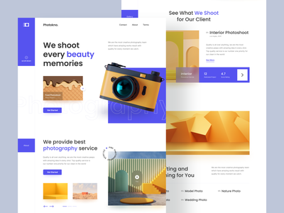 Photokno - Photography Service Landing Page agency 3d modeling 3d photography website photography camera web design blue webdesign website design website landingpage landing uiux ux clean ui