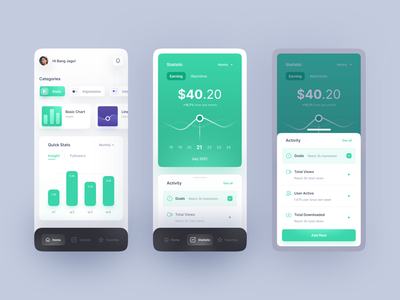 FREEBIES - Insight Statistical Mobile App Exploration minimalist modern clean gradient statistic mobile ui mobile design mobile app mobile green chart stats uidesign uiux ui