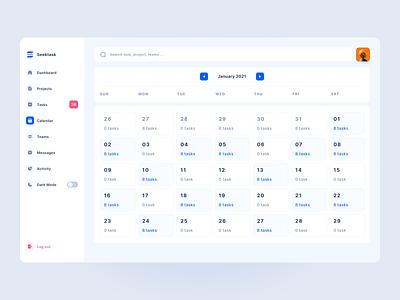 Seektask - Team Task Management Dashboard - Calendar dashboard uiux time date blue white clean dashboard design calendar graphic design component dashboard ux uiux