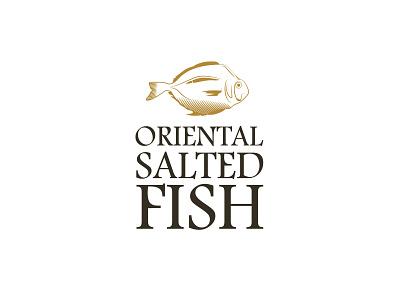 oriental salted fish logo design minimal icon illustration design branding logo
